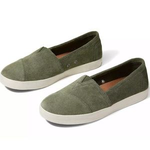 NEW Toms Avalon Silky Suede Sneaker 9 Pine Green
